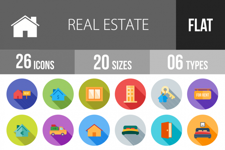 26 Real Estate Flat Long Shadow Icons