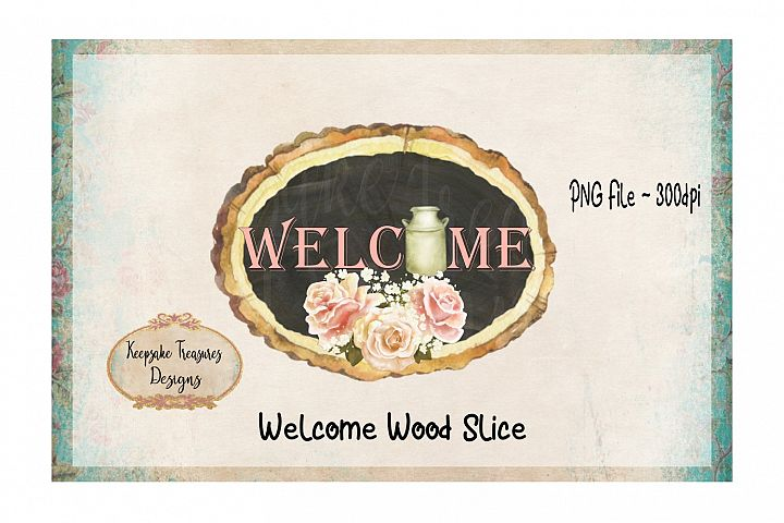 Welcome Wood Slice Sublimation PNG