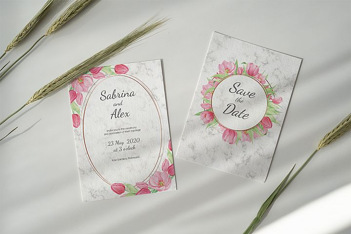 Tulip and Marble. Wedding invitation suite example image 4
