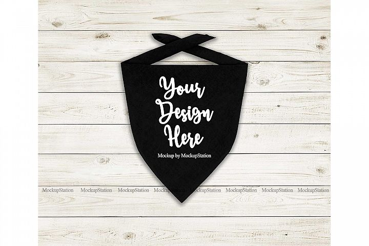 Dog Bandana Mock Up, Pet Black Scarf Flat Lay Mockup