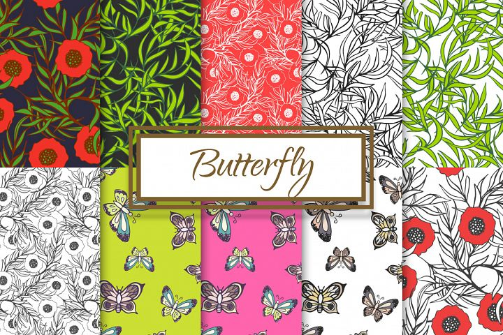 Hand drawn Butterflies and Poppies
