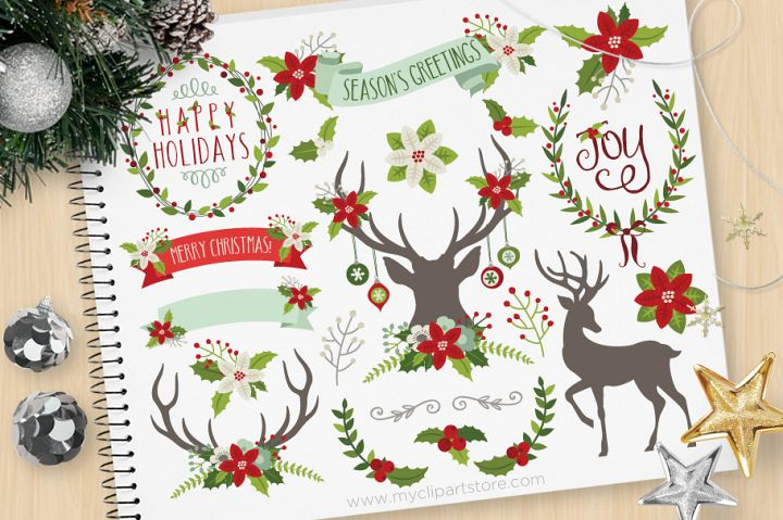 Rustic Christmas Elements 2, Reindeer - Vector Clip Art & SV