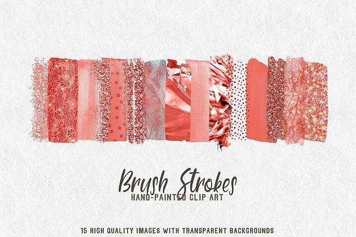 15 brush strokes clipart coral