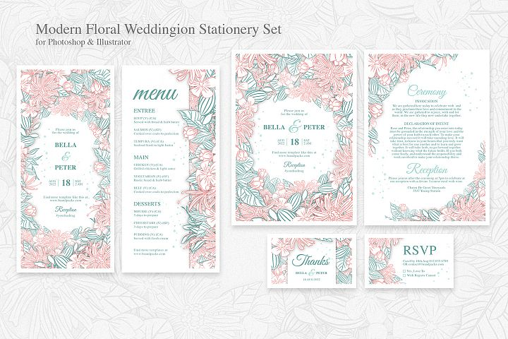 Modern Floral Wedding Stationery Templates