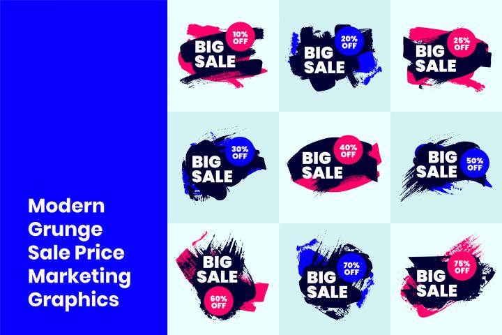 Modern Grunge Sale Price Marketing Graphics