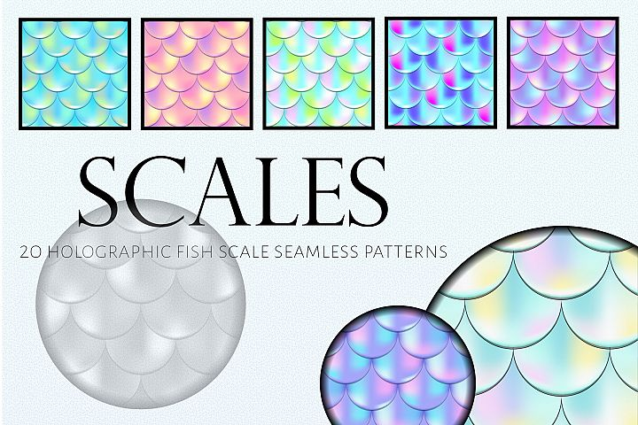 Holographic Mermaid Seamless Patterns