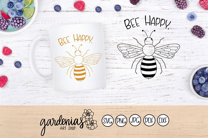 Bee Happy SVG | Bee Happy Cut File | Pun SVG | Bee Design