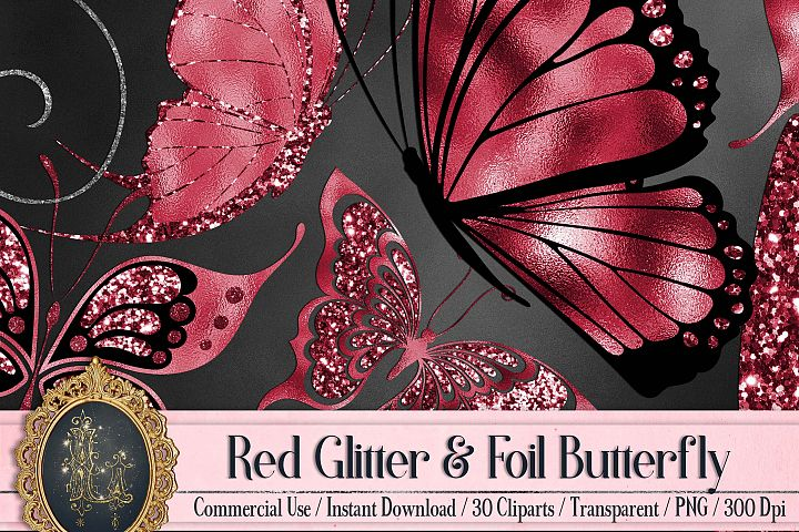 30 Red Ruby Foil and Glitter Flying Butterfly Digital Images