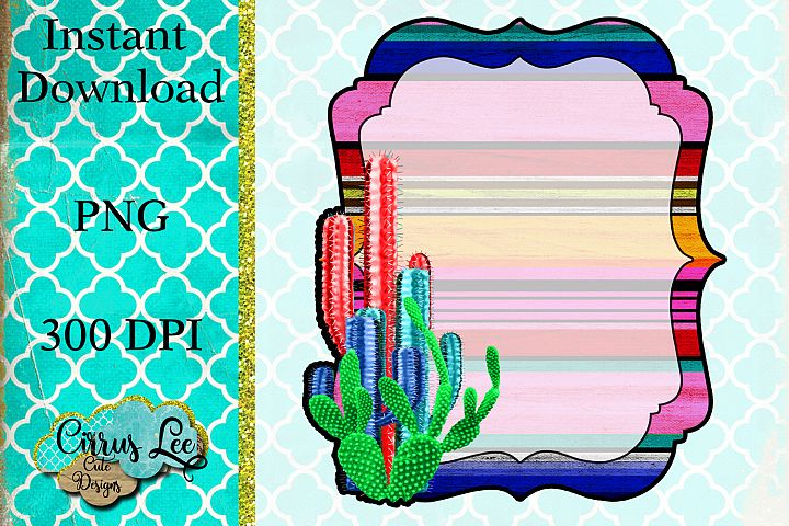 Cactus Monogram Frame Sublimation Design/Wall Art