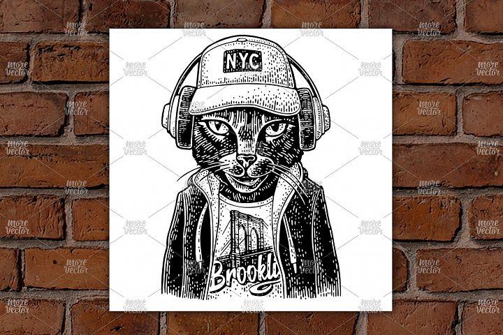 Cat to headphones dressed in the hoodie