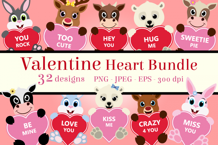 Valentine Heart Bundle Clipart, Conversation Hearts, PNG