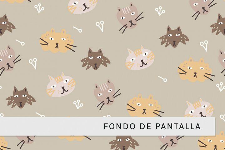 Gracioso Fondo de Pantalla con Caras de Gatos