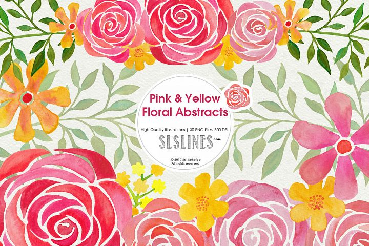 Pink & Yellow Watercolor Florals