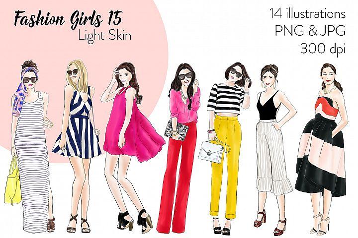 Fashion illustration clipart - Fashion Girls 15 - Light Skin
