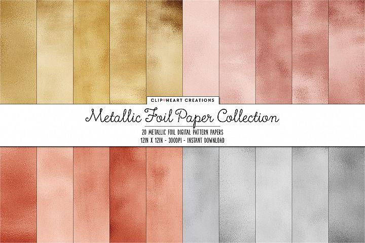 Metallic Foil Paper Digital Papers - 20 papers