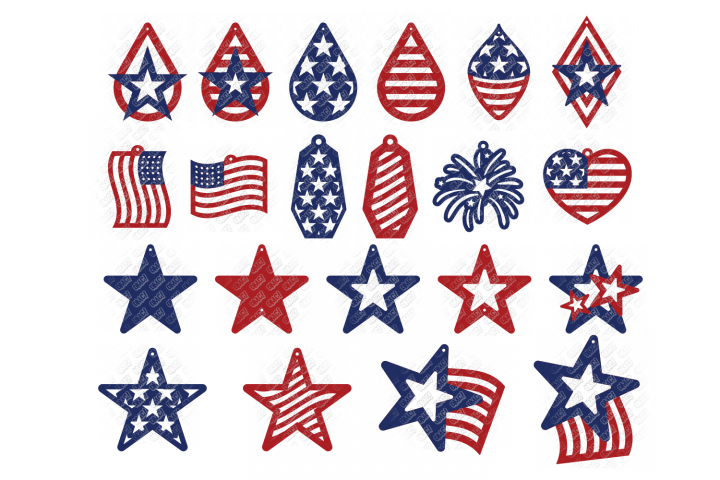American Flag Earrings SVG in SVG, DXF, PNG, EPS, JPEG