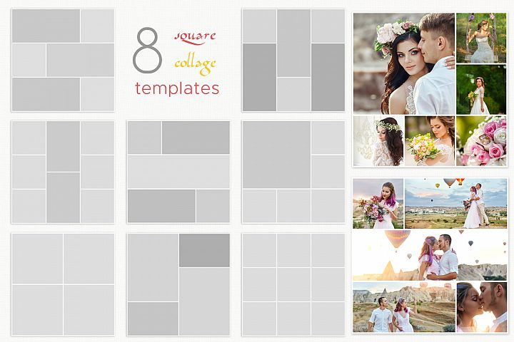 Photo Collage Template Psd, Square collages bundle 8x