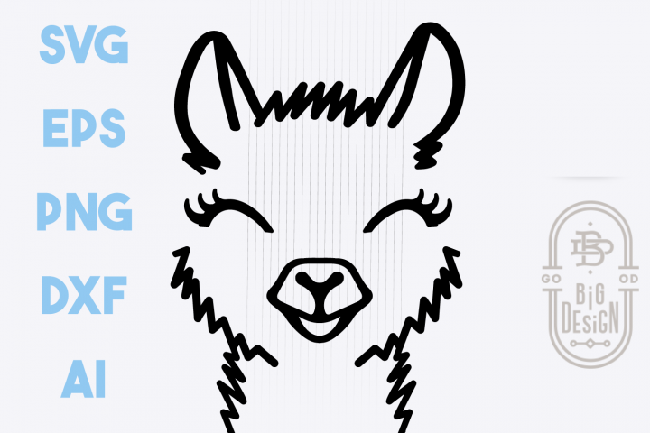 Cute Llama face SVG, Lama Head SVG, Llama Illustration Svg