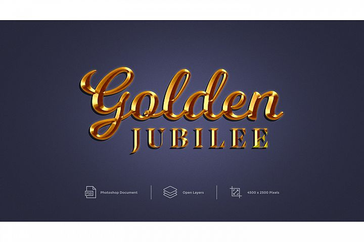 Golden Jubilee Text Effect Design Photoshop Layer Style