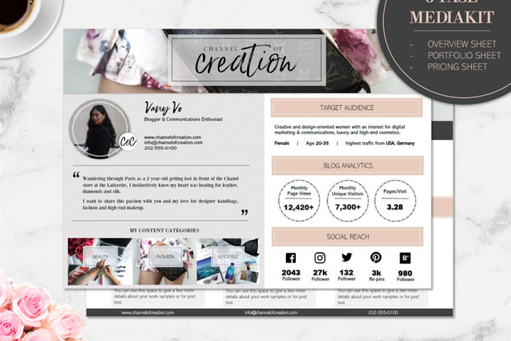 3-Page Media Kit Template - BLOOMY - Press Kit for Blog, MS WORD (.docx), incl. Overview sheet/ Portfolio sheet/ Pricing sheet