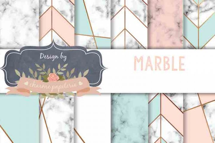 Mint and Blush Marble Digital Paper, Gold Mint Blush Marble