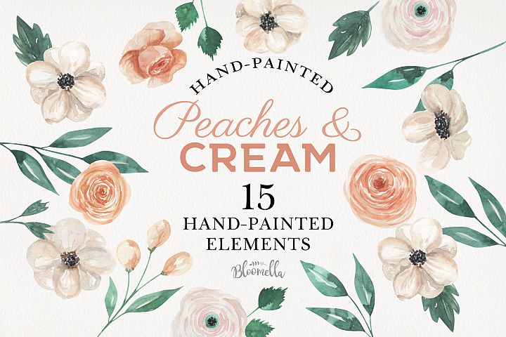 Peaches & Creams Watercolor Elements Flowers Beige Leaf