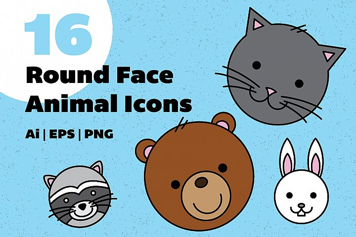 Round Face Animal Icons
