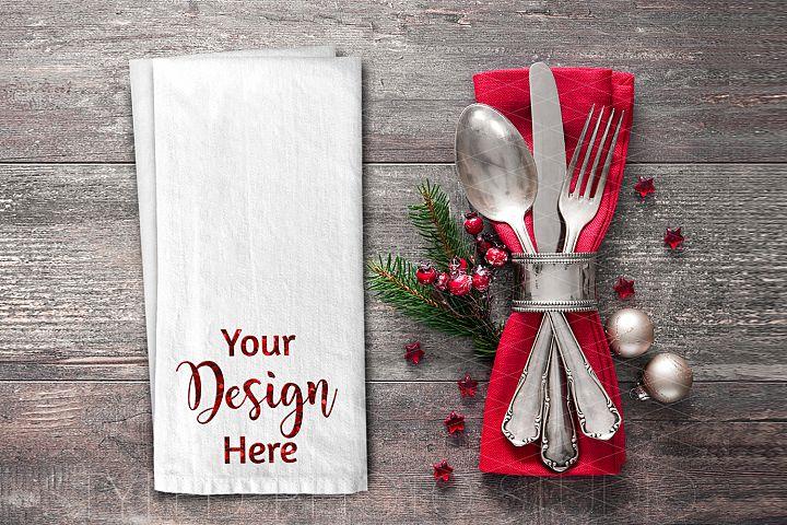 Christmas Kitchen Towel Flat Lay Mockup