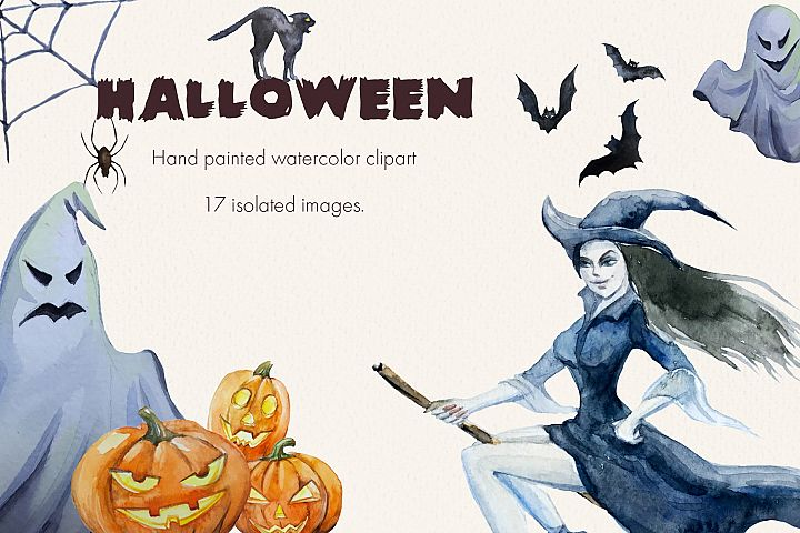 Halloween. Watercolor clipart