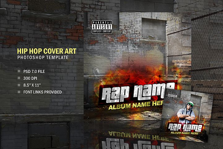 Music Rapper Album Cover, Photoshop Template Design