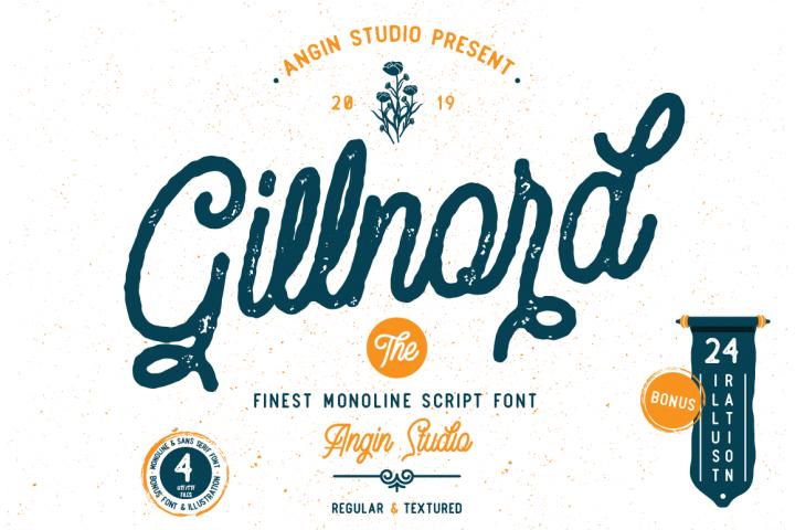 Gillnord Monoline Script extras illustration