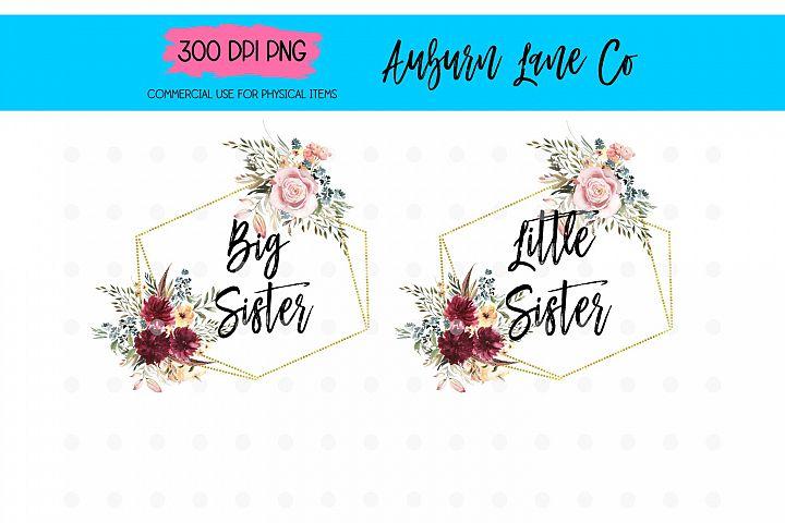 Big Sister Floral Sublimation Designs, Little Sister Flower