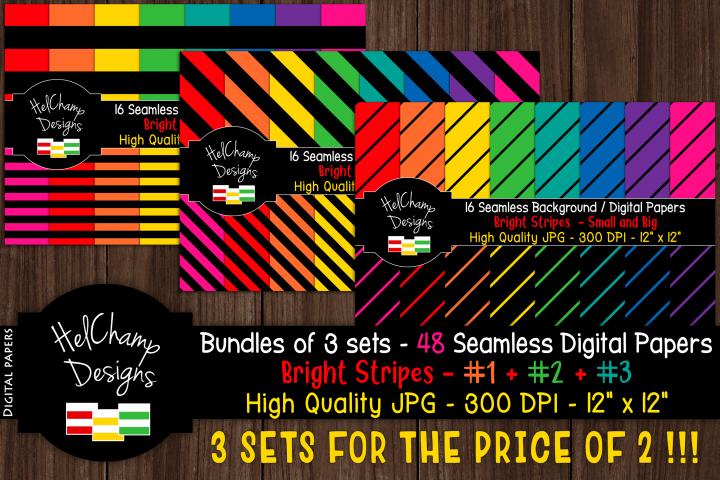 48 seamless Digital Papers - Stripes Bright serie - DB010
