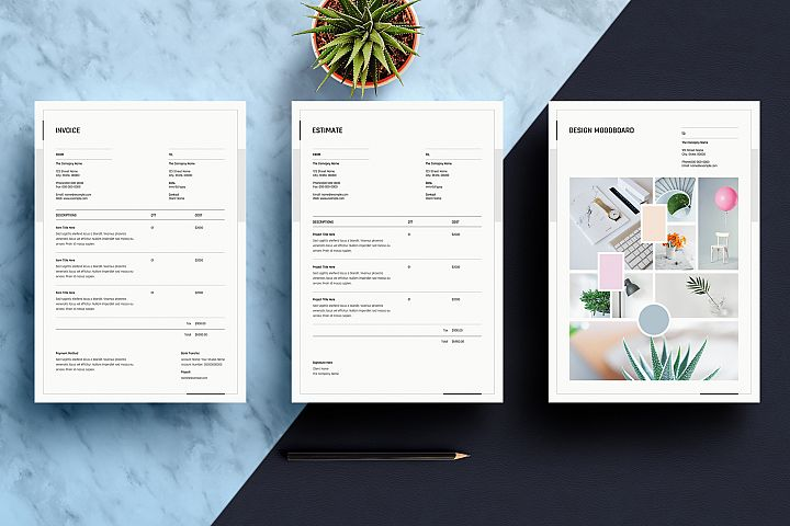 Mood Board, Estimate and Invoice Template