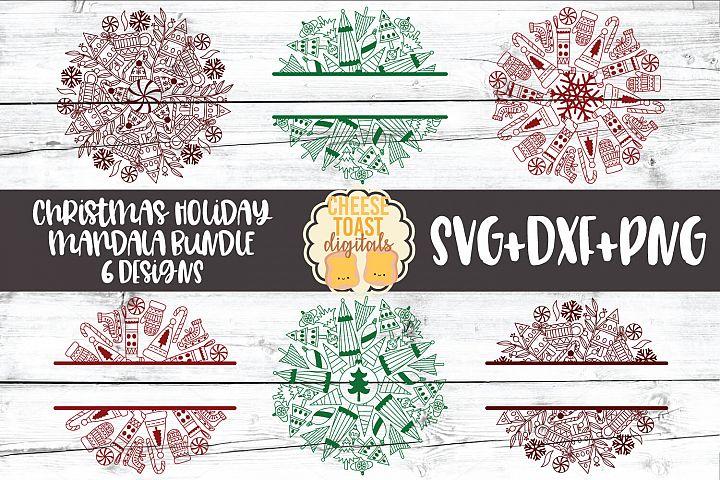 Christmas Mandala Bundle - Holiday Split Mandala SVG PNG DXF