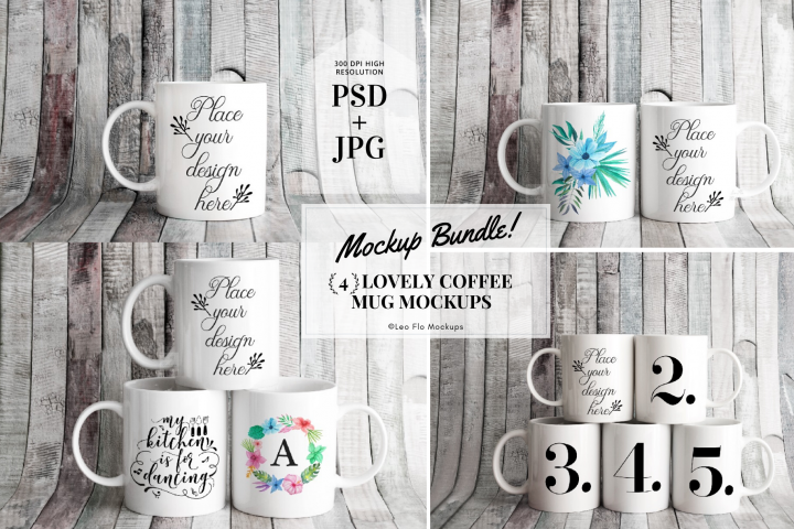4x Bundle mockup PSD mug mockups rustic stock photo mugs