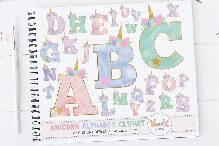 Unicorn Letters, Unicorn Letters Clipart, Unicorn Alphabet, Alphabet Clipart, Unicorn Clipart, Unicorn Graphics, Unicorn Alphabet Clipart