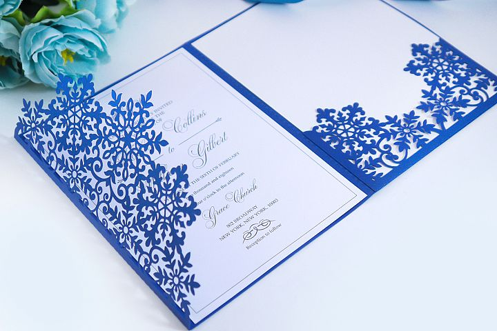 Laser cut wedding invitation, 5x7, Cricut Template, Tri Fold