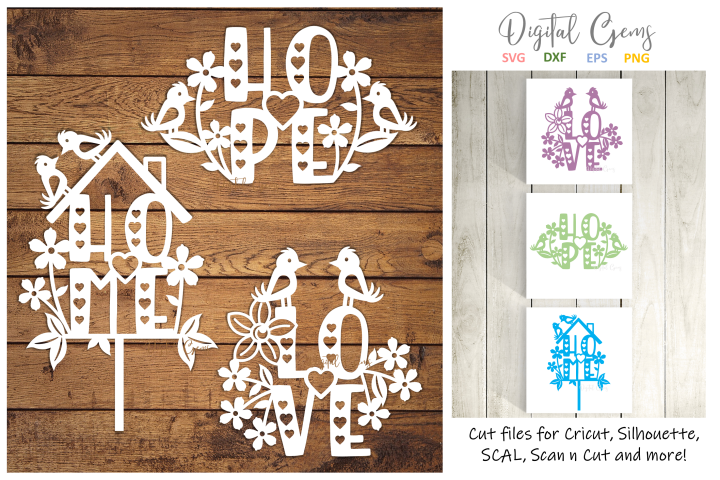 Love, Home, and Hope paper cut designs SVG / DXF / EPS / PNG