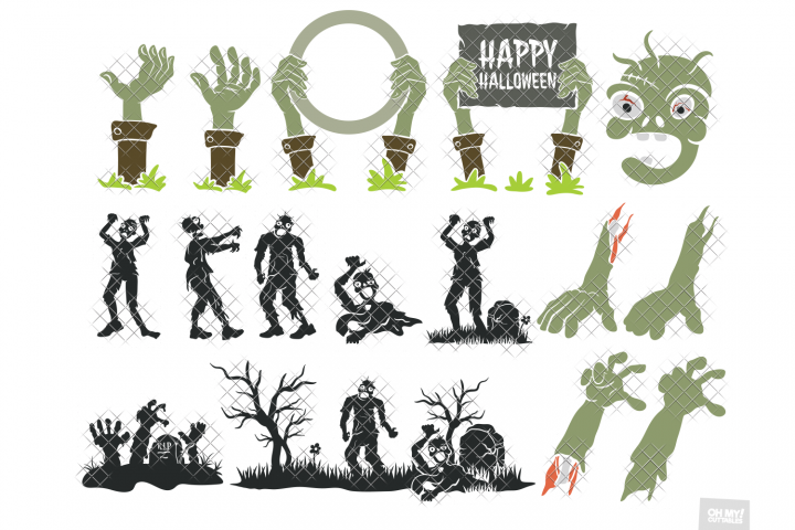 Zombie SVG Hand Silhouette in SVG, DXF, PNG, EPS, JPG