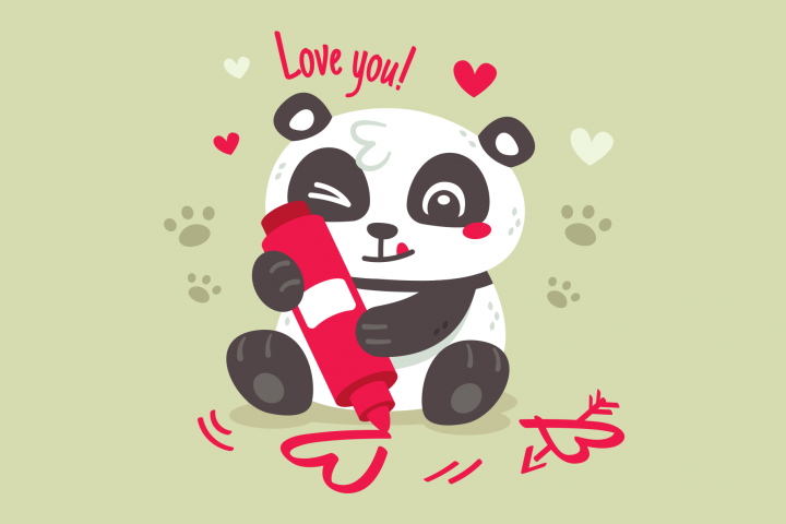 Panda Love Valentines Day