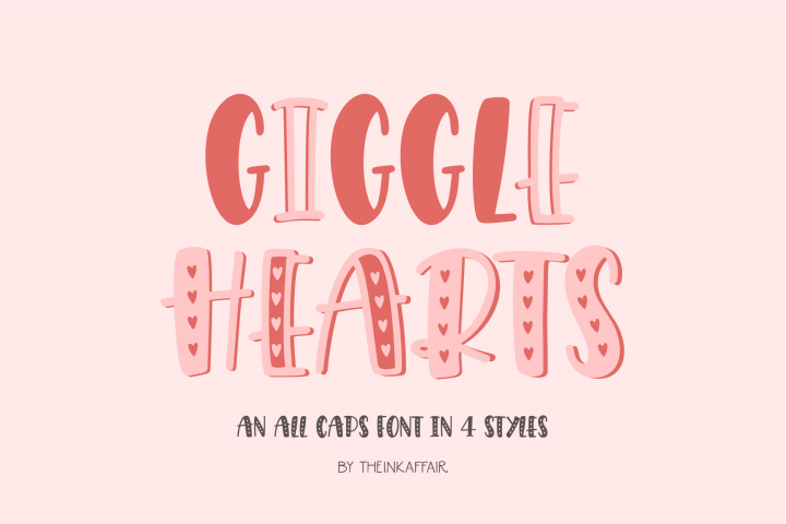 Giggle Hearts, An adorable valentine day font
