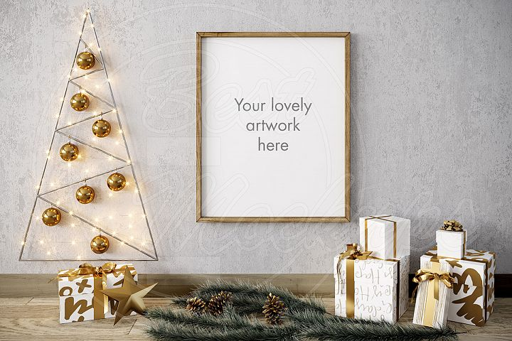 Merry CHRISTMAS mockup GOLD 8x10