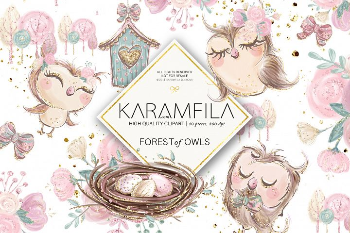 Forest Owls Clipart