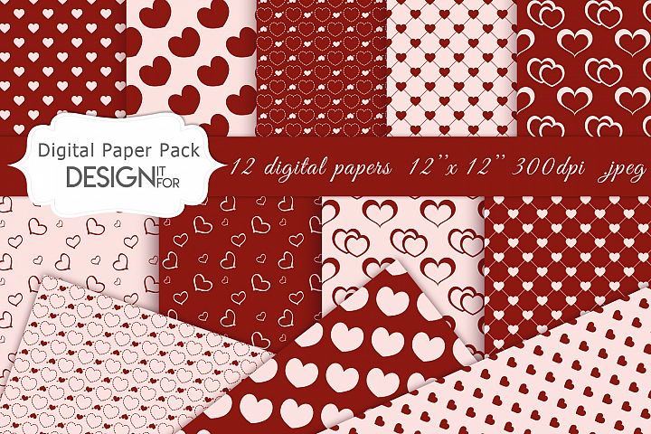 Red Valentines Day Digital Paper Pack, red love