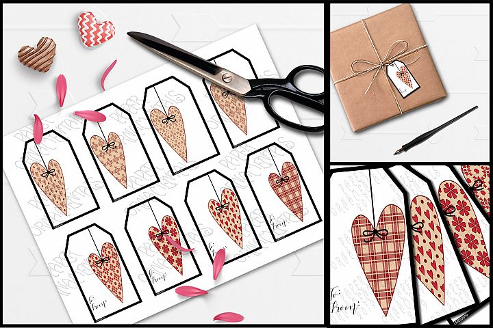 Printable Valentine Gift Tags, Prim Heart To/From Tags Set 1