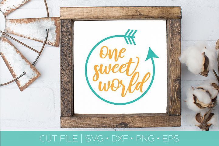 One Sweet World SVG DXF Cut File | Boho Tribal Arrow SVG