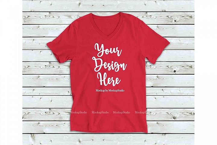Red Shirt Mock Up, Bella Canvas 3005 V-Neck Tshirt Mockup