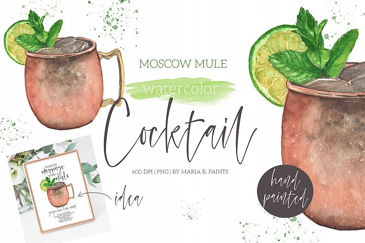 Moscow Mule Cocktail Watercolor Clipart Illustration