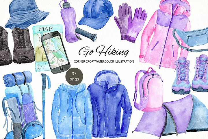 Watercolor go hiking illustration